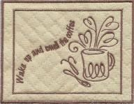 Mug Rugs Embroidery Designs.  In-The-Hoop mug rugs.