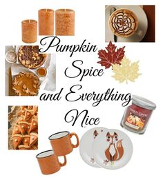 """Pumpkin Spice & everything nice!"" by briar-circle on Polyvore featuring interior, interiors, interior design, home, home decor, interior decorating, Heritage Lace, Crate and Barrel and Yankee Candle"