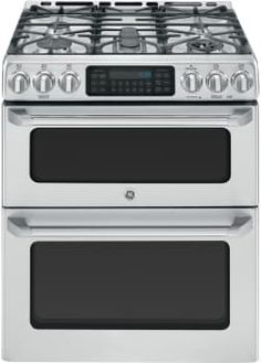 "GE Cafe Series CGS990SETSS - 30"" GE Cafe Series Slide-In Front Control Gas Double Convection Range"