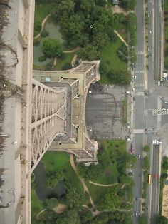 Looking down the Eiffel Tower.
