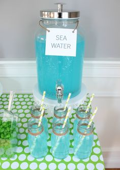 sea water at turtle party Turtle Birthday Parties, Turtle Party, Birthday Party Themes, Birthday Ideas, Birthday Cards, Mermaid Theme Birthday, Baby Birthday, Mermaid Party Food, Mermaid Parties