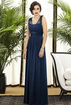Brides.com: Navy Blue Bridesmaid Dresses. Style 2890, lux chiffon bridesmaid dress in midnight, $260, Dessy available at Weddington Way  See more Dessy bridesmaid dresses.