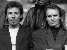 Bruce Springsteen and Sting at Amnesty International at Wembley, 1988