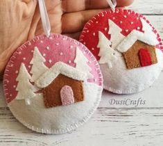 READY TO SHIP / Felt Christmas ornament - Winter landscape, Christmas village, Gingerbread house, tree decoration / possibly personalized Handmade Christmas Decorations, Felt Decorations, Felt Christmas Ornaments, Christmas Sewing, Christmas Embroidery, Christmas Crafts, Etsy Christmas, Homemade Christmas, Christmas Mantles