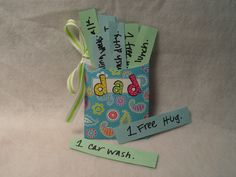 Father's Day vouchers! Easy to make, and fun for dad. All you need is CTP's Library Pockets, CTP's letter stickers, some paper, ribbon and something to write with.