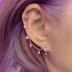 Ear Jewelry, Dainty Jewelry, Cute Jewelry, Jewelery, Jewelry Accessories, Purple Accessories, Pretty Ear Piercings, Tongue Piercings, Cartilage Piercings