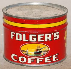 Folger's Coffee, 1931 Macy's and Starbucks were all Quaker Families too. Vintage Food, Vintage Tins, Vintage Recipes, Folgers Coffee, Coffee Cans, Old Ads, Starbucks, Families, Canning