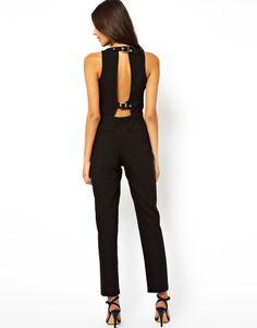 0a5e8255c4ec ASOS Jumpsuit with Buckle Back Detail Asos Black Jumpsuit