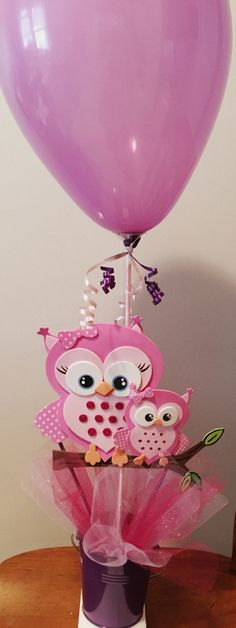 Baby shower Owl theme centerpieces