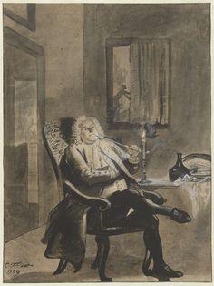 Cornelis Troost | Zittende man, bij kaarslicht een pijp rokend, terwijl buiten huizen in brand staan, Cornelis Troost, 1739 |