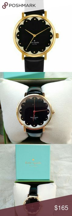 🎉HP🎉 NWT Kate Spade Metro Watch Brand new in box, Kate Spade Metro Watch. Black patent leather band with gold, black scallop design on face. 34 mm. Sold out! kate spade Accessories Watches