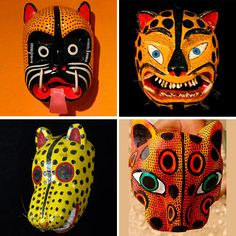 """The Tiger Masks (""""Tiger"""" is often used to describe Jaguars in Mexico) are from Guerrero and worn by farmers who perform rain dances prior to their growing seasons. I wonder if they sell them in Maya Riviera? #holtspintowin"""