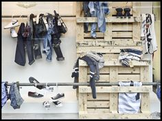 Vitrine Jean, Denim Display, Clothing Store Interior, Boys Designer Clothes, Craft Booth Displays, Clothing Displays, Jeans, Clothing Photography, Visual Display