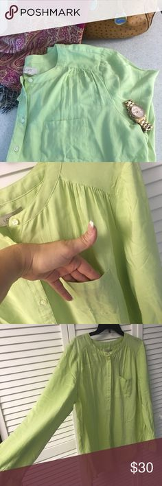 Long Sleeve Blouse NWT ️Listing Beautiful Lime Green Blouse. Add a touch of color to any outfit during any season. Must have item in your closet. ✨ Please feel to ask any questions ✨ Reasonable offers always welcomed ✨ Bundle and save LOFT Tops Blouses