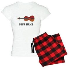 Cafepress Personalized Violin Women's Light Pajamas, Size: 2XLarge (+$3.00), Red