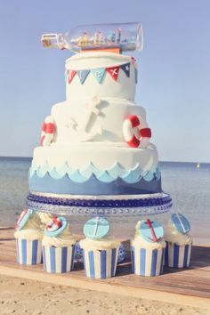 Boys Nautical Themed Birthday Party Dessert Cake Ideas