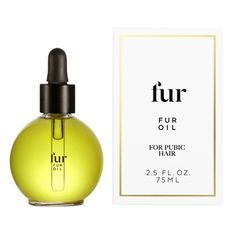 Fur Oil by FUR - Fur's signature product. Dermatologically and gynecologically tested. Used daily, Fur Oil softens pubic hair and clears pores for fewer ingrowns. This bottle lasts approximately 6 months. Fur Oil's unique blend of lightweight oils is a 100% natural formula and can be used as frequently as desired to enhance pubic hair and skin. The oils used in this blend absorb quickly and do not leave an oily residue.