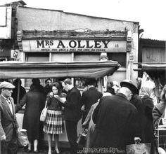 Pie  and Mash shop at the old Rathbone Street Market, Canning Town, Newham c1960s.