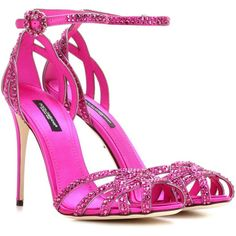 Dolce & Gabbana Embellished Satin Sandals ($1,730) ❤ liked on Polyvore featuring shoes, sandals, heels, pink, pink sandals, satin shoes, decorating shoes, dolce gabbana shoes and heeled sandals