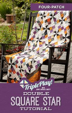 Be ready for Halloween with the latest Triple Play from Missouri Star! This week the Doan girls are stitching up three unique Double Square Star quilts including the Four Patch Double Square Star quilt! Click the link below to watch the Triple Play! Double Square Star tutorial now! #MissouriStarQuiltCo #MSQC #JennyDoan #TriplePlay #DoubleSquareStars #HalloweenQuilt #Halloween #Quilting #Quilts #Sewing #HowToQuilt #QuiltTutorial #QuiltPattern #HalloweenAesthetic… Missouri Star Quilt Tutorials, Quilting Tutorials, Halloween Table Runners, Halloween Quilts, Fall Quilts, Star Quilts, Patch Quilt, Cute Halloween, Quilt Making