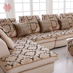 Get the stylish couch cover for your room couch cover europe black gold floral jacquard terry cloth sofa cover plush sectional slipcovers WIFZMFZ Diy Sofa Cover, Couch Covers, Couch Furniture, Furniture Covers, Furniture Removal, Luxury Furniture, Sectional Slipcover, Slipcovers, Ikea Nockeby