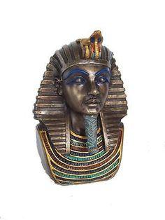 Veronese-Bronze-Figurine-Egyptian-Bust-of-King-Tutankhamun-Golden-Coffin