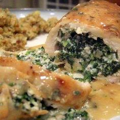 Spinach and Mushroom Stuffed Chicken Breasts @keyingredient #cheese #chicken