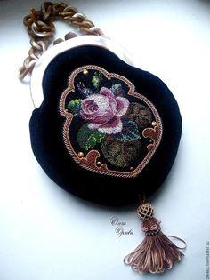 Купить Сумочка с розой - черный, ольга орлова, сумочка с розами, бархатная сумочка, фермуар, бархат