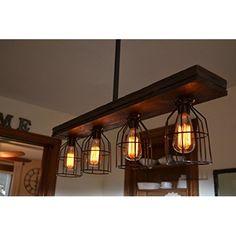 "WinSoon Industrial Vintage Ceiling Light Cage Dark Rust 18""W X 10""H Barn Metal Semi Flush Mount Light Painted Finish"