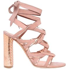 Casadei Women 100mm Suede & Metallic Leather Sandals ($925) ❤ liked on Polyvore featuring shoes, sandals, heels, casadei, sapato, high heel shoes, suede sandals, leather sole sandals, leather shoes and suede shoes