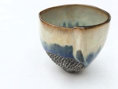 """dawnatkin: """"My first tall tea bowl (yunomi). It was quite a challenge to hand form this taller shape, but I love all the extra room to play with glaze and carving! . . #yunomi #teabowl #tea #tealover #create #newdesign #pottery #ceramics #ceramicart..."""