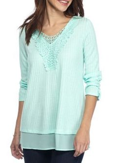 Kim Rogers Mint Feathery Crocheted Detail Top