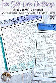 Free Self-Care Challenge for Educators – Education Mental Health Activities, Wellness Activities, Self Care Activities, School Staff, School Counselor, Middle School, Health Teacher, Teacher Resources, School Resources