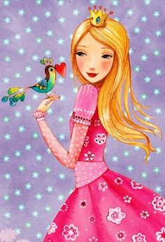 Girl and bird with heart artist Illustration by www.MilaMarquis.com and www.Facebook.com/MilaMarquisillustration