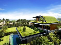 Green Roof House Architecture by Guz
