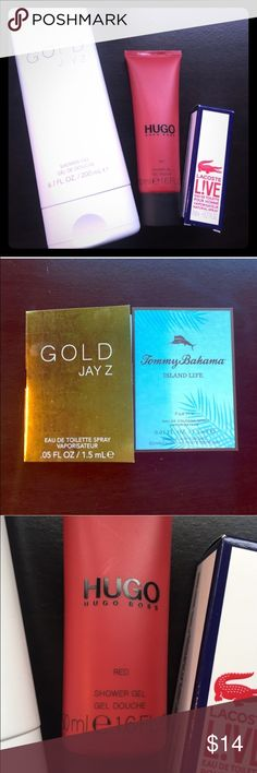 5 Piece Mens Fragrance Bundle Gold by Jay Z shower gel, 6.7 oz.                                Hugo Red by Hugo Boss shower gel, 1.6 oz.       Lacoste Live mini vaporizer, .27 oz.                                                 2 men's fragrance samples: Gold by Jay Z and Island Life by Tommy Bahama. None of them were ever used! Other