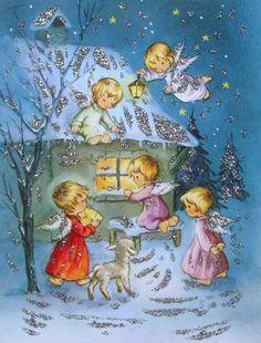 Germany postcard Merry Christmas Gif, Christmas Card Images, Retro Christmas, Vintage Christmas Cards, Vintage Holiday, Christmas Greeting Cards, Christmas Pictures, Christmas Angels, Christmas Art