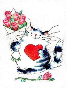 Cat Love by Margaret Sherry   UK designer hard to find patterns  SO CUTE  found@cross-stitch-corner.co.uk/cat-love-2585-p.asp