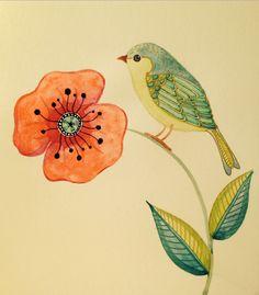 Little green bird adorned with gold pen