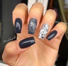 nails, black, and glitter image#nails