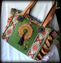 Handmade by Judy Majoros - Embroidered crochet fringe ruffles bag. Tote bag-shoulder bag.Recycled bag