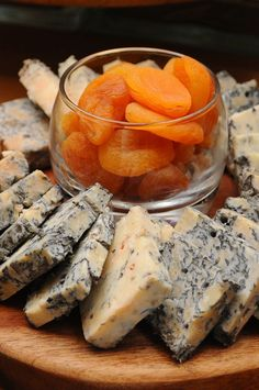blue cheese and dried apricots