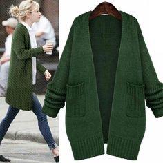 Fashion Green Sweater Coats Casual Knitted Long Cardigan