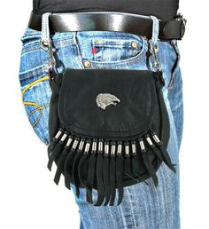 Ladies Motorcycle Leather Hip Bags Attaches to Belt Loops Easy Carry Hands Free #HipBag #HipBag #july4sale