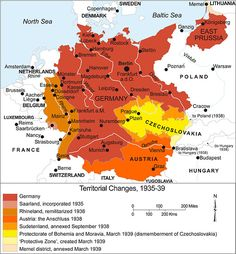 Map of German Expansion just before WWII