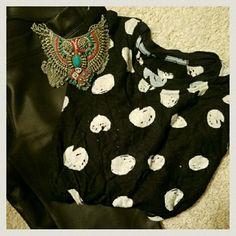 Zara Polka Dot T shirt Great shape. Marked small but fits like XS. Worn once or twice Zara Tops Tees - Short Sleeve