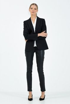 I really like these monochrome looks from Country Road's Autumn 2014 Urban Career Look Book . Corporate Chic, Corporate Outfits, Coast Style, Wrap Shirt, Work Chic, Style Guides, Leather Pants, Clothes For Women, My Style