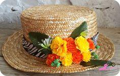 Canotier con flores diy