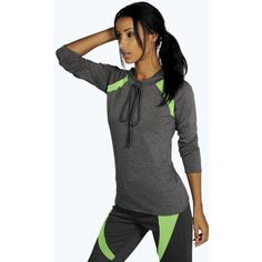 Boohoo Fit Paige Mesh Panel Sports Hoodie ($20) ❤ liked on Polyvore featuring tops, hoodies, charcoal, boxy crop top, cropped hooded sweatshirt, hoodie crop top, cropped hoodie and hooded pullover