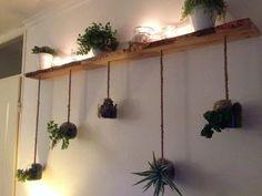 Plantjes in glazen hangers met touw door de robuuste plank erboven. Touw draperen en kaarsjes en planten op de plank.... Klaar is je groene wand!
